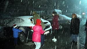 İstanbul'un yanı başı... Kar yağışı başladı