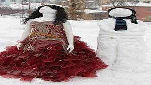 Hakkari'de kardan gelin damat yapıp takı taktılar