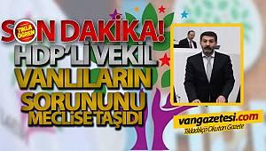 HDP'Lİ VEKİL VANLILARIN SORUNUNU MECLİSE TAŞIDI