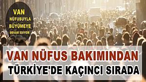 Van nüfus bakımından Türkiye'de kaçıncı sırada...
