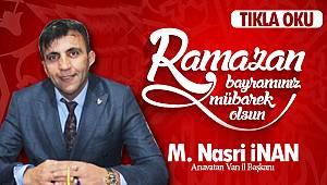 M. Nasri İnan'dan Ramazan Bayramı Mesajı