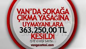 Van'da 2 günlük yasağa uymayanlara toplamda 363.250,00 TL para cezası
