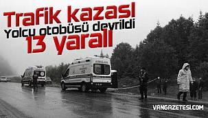 Yolcu otobüsü devrildi - 13 yaralı