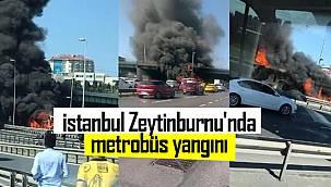 Son dakika! İstanbul Zeytinburnu'nda metrobüs yangını
