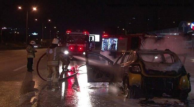 Ticari taksi alev alev yandı