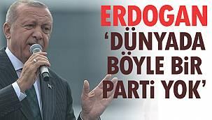 Erdoğan, 'Dünyada Böyle Bir Parti Yok'