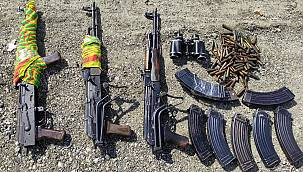 Van'ın Edremit ilçesindeki operasyonda; 3 Adet AK-47 Kalaşnikov, EYP düzeneği vb