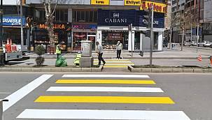 Van'da sokağa çıkma kısıtlamasında yol çizgilerini yeniledi