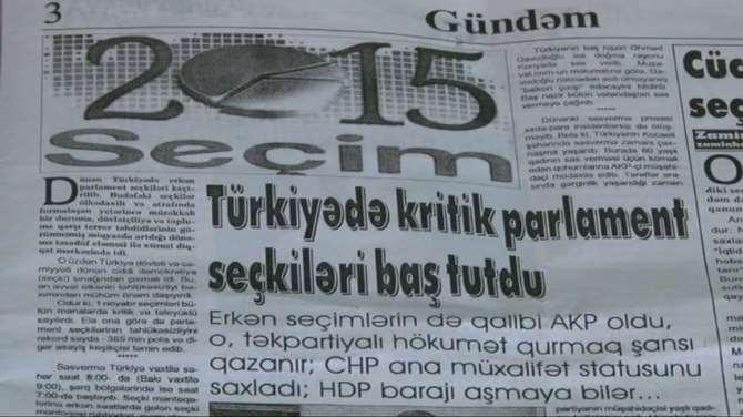 1 Kasım Seçimi Azerbaycan Medyasında